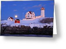 Nubble Lighthouse Winter Moon Greeting Card by John Burk