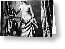 Nude And Curtains, C1850 Greeting Card