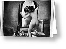 Nude And Mirror, C1850 Greeting Card