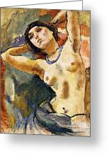 Nude Brunette With Blue Necklace Nu La Brune Au Collier Bleu Greeting Card