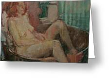 Nude In Old Tub, 2008 Oil On Canvas Greeting Card