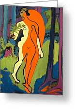 Nude In Orange And Yellow Greeting Card