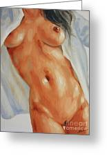 Nude In Shirt II Greeting Card by John Silver