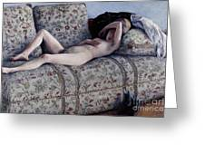 Nude On A Couch Greeting Card