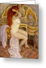Nude Seated At Her Dressing Table Greeting Card