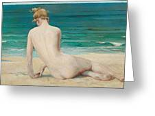 Nude Seated On The Shore Greeting Card