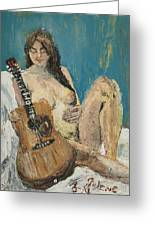 Nude With Guitar Greeting Card