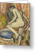 Nude Woman Wiping Herself After The Bath Greeting Card