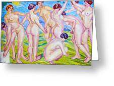 Nudes Dancing In A Ring Greeting Card