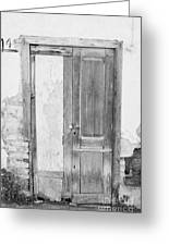 number 141 old weathered brown wooden door entrance to abandoned house with cracked stucco yellow walls in Tacoronte Tenerife Canary Islands Spain Greeting Card