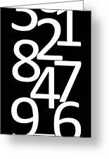 Numbers In Black And White Greeting Card