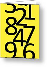 Numbers In Black And Yellow Greeting Card