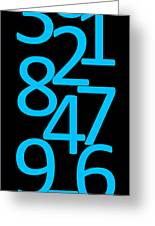 Numbers In Blue And Black Greeting Card