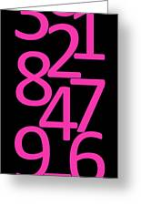 Numbers In Pink And Black Greeting Card