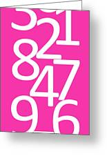 Numbers In Pink And White Greeting Card