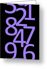 Numbers In Purple And Black Greeting Card