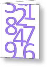 Numbers In Purple Greeting Card