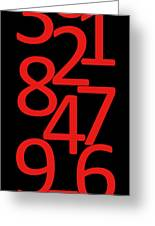 Numbers In Red And Black Greeting Card