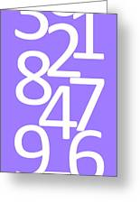 Numbers In White And Purple Greeting Card
