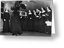 Nun Swivels Hula Hoop On Hips Greeting Card