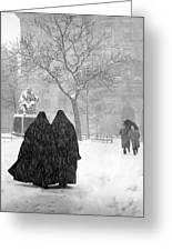Nuns In Snow New York City 1946 Greeting Card