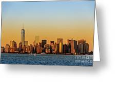 Ny Skyline At Sunset Greeting Card