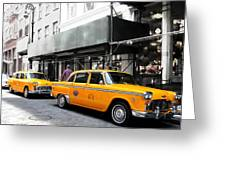 Ny Streets - Yellow Cabs 1 Greeting Card