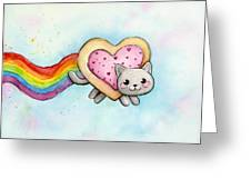 Nyan Cat Valentine Heart Greeting Card