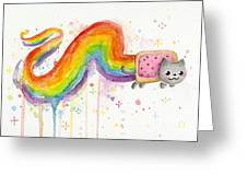 Nyan Cat Watercolor Greeting Card
