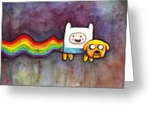 Nyan Time Greeting Card by Olga Shvartsur