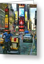 Nyc Bike Taxi Greeting Card by Jeff Breiman