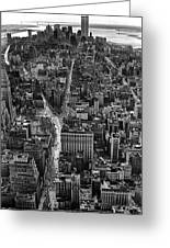 Nyc Downtown - Black And White Greeting Card