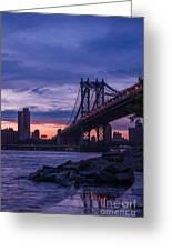 Nyc - Manhatten Bridge At Night II Greeting Card by Hannes Cmarits