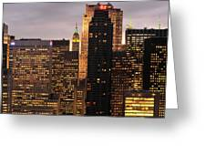 Nyc Midtown Golden Lights Greeting Card