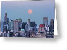 Nyc Pastel Supermoon Greeting Card