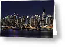Nyc Skyline Full Moon Panorama Greeting Card by Susan Candelario