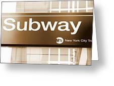Nyc Subway Sign Greeting Card