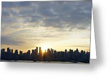 Nyc Sunrise Panorama Greeting Card