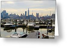 Nyc View From Lincoln Harbor Weehawkin Nj Greeting Card