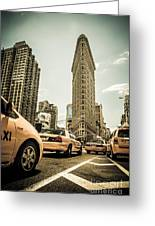 Nyc Yellow Cabs At The Flat Iron Building - V1 Greeting Card by Hannes Cmarits