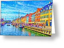 Nyhavn In Denmark Painting Greeting Card