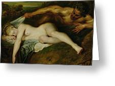 Nymph And Satyr Greeting Card