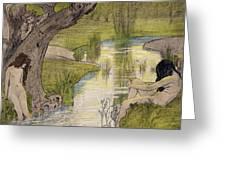 Nymphs Bathing Greeting Card