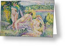 Nymphs Greeting Card by Henri Edmond Cross