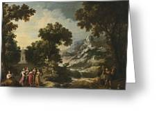 Nymphs Turning The Apulian Shepherd Into An Olive Tree Greeting Card