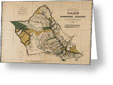 Oahu Sovereign Hawaii Map  1881 Greeting Card