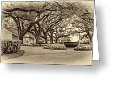 Oak Alley Slave Quarters Sepia Greeting Card