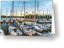 Oak Pt Harbor At Sundown Greeting Card