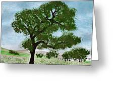 Oak Tree Landscape Greeting Card