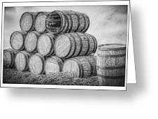 Oak Wine Barrels Black And White Greeting Card